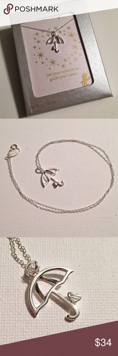 """April showers bring May flowers... 🌷 Super cute umbrella necklace by LA Rocks for Disney. 18"""" Sterling silver chain, marked 925 ITALY. Umbrella is approx. 11/16"""" wide by 11/16"""" tall. Disney Jewelry Necklaces"""