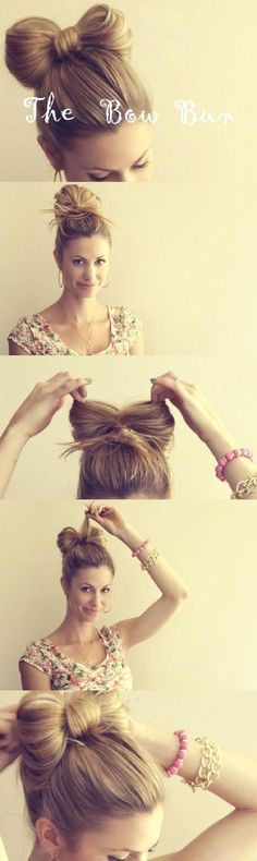 The Hair Bow Bun - love this so much, doubt it would work in my hair, but I love, love, love! Once my hair is long enough I know I could attempt putting my hair up in this hair bow Bun! the hair bow Bun style! Pretty Hairstyles, Girl Hairstyles, Easy Hairstyles, Wedding Hairstyles, Medium Hairstyles, Latest Hairstyles, School Hairstyles, Curly Haircuts, Fringe Hairstyles