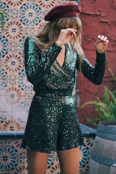Slide View: 1: Oh My Love Allegre Plunging Sequin Romper