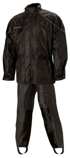 Nelson-Rigg Aston: 100% waterproof soft Polyester outer shell with PVC backing.  Jacket has full-length zipper with Velcro storm flap.  Adjustable cuff with Velcro tabs.