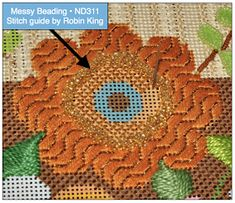 Needlepoint Study Hall: Beading Wrap-up Needlepoint Stitches, Needlework, Ribbon Embroidery, Embroidery Stitches, Fall Bouquets, Beading Techniques, Stitch Design, Trees To Plant, Embellishments
