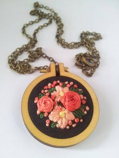 Mini Embroidery Hoop Necklace with Hand by NoPlainJayneThreads