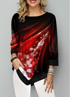 New Arrival | Liligal.com Long Sleeve Mermaid Dress, Trendy Tops For Women, Quarter Sleeve, Shirt Style, Casual Outfits, Dresses With Sleeves, Red Clothing, Fashion Clothes, Fashion Dresses