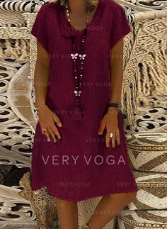 Casual Vacation Knee Length V-Neck Cotton Solid Short Sleeves Solid Shift Dresses, veryvoga Short Sleeves, Short Sleeve Dresses, T Shirt, Shirt Dress, Vacation Dresses, Casual Dresses, Womens Fashion, Cotton, Clothes