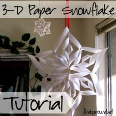 Finely Ground: DIY: Paper Snowflakes Really, she wasn't lying when she said these turn out HUGE! For snowflakes. Christmas Paper Crafts, Holiday Crafts, Holiday Fun, Fun Crafts, Christmas Decorations, Holiday Parties, Christmas Ornaments, Office Christmas, Christmas Holidays