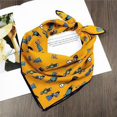 c0228dcdf2298 50cm Ginger Square Scarf Women Spinach Princess Print Kerchief Fashion  Foulard N