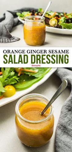 Sesame Salad Dressing, Sesame Ginger Dressing, Salad Dressing Recipes, Salad Recipes, Avocado Recipes, Lunch Recipes, Vegetarian Recipes, Clean Eating Recipes, Cooking Recipes