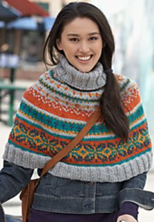Capelet can be subtle or bright in colour choices. Interesting pattern and nice warm layer for the winter. Free pattern.
