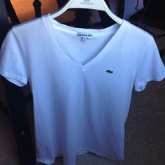 Lacoste tee Classic v neck tee in bright white Lacoste Tops Tees - Short Sleeve