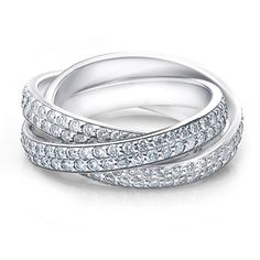 This enthralling diamond eternity ring delivers uncompromising beauty with 3 bands of micro-pave set diamonds totaling 3.0 Carats. $0.00