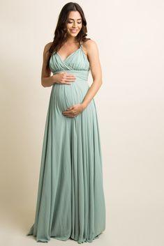 Mint Green Chiffon Halter Tie Back Maternity Evening Gown