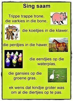 Trippe trappe trone, die varkies in die bone School Songs, School Themes, Preschool Learning, Teaching, Afrikaans Language, Kids Poems, Children Songs, Afrikaanse Quotes, Rhymes Songs