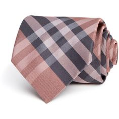 Burberry London Clinton Check Classic Tie ($140) ❤ liked on Polyvore featuring men's fashion, men's accessories, men's neckwear, ties and coral pink