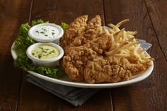 Chicken Tenders with Fries - Served with honey mustard and ranch dressings. Bj Restaurant, Lunch Specials, Lunch Menu, Chicken Tenders, Honey Mustard, Ranch Dressing, Dressings, Fries, Restaurants