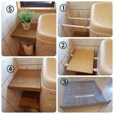 A great option for renters. A few tension rods between the toilet and wall. Add a piece of wood and you have yourself a shelf Diy Storage, Bathroom Storage, Small Bathroom, Extra Storage, Small Space Organization, Home Organization, Diy Interior, Bathroom Interior, Diy Home Decor