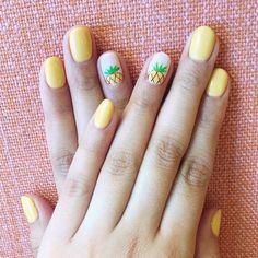 23 Beautiful Nail Art Designs and French Manicure in Acrylic and Gel polish.Trending summer nail pattern. Blue, Pink, Purples Rainbow, Coral, Floral colors. Summer pineapple yellow nail art.