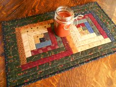 Quilted Log Cabin Table Runner/ Country by RubysQuiltShop on Etsy