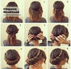 chignon, chignon headband, how to, hair, inspiration No Heat Hairstyles, Summer Hairstyles, Diy Hairstyles, Wedding Hairstyles, Easy Hairstyle, Hairstyle Tutorials, Black Hairstyles, Simple Hairstyles, Beautiful Hairstyles