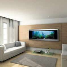 Luxury Living Room Furniture – Most Expensive Aquarium Made with Gold - Home Design and Home Interior Aquarium Design, Home Aquarium, Big Aquarium, Cool Fish Tanks, Gold Walls, Design Case, T Rex, Betta, My Dream Home
