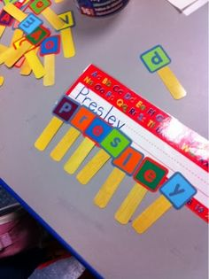 Great idea for the kids to start to learn their names. By recognizing the letters in their names, and spelling it out with ABC letter sticks.