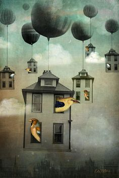 'Birdhouse 2' by Catrin Welz-Stein on artflakes.com,  Surrealism.  Occupied bird houses lifted into the clouds by balloons.