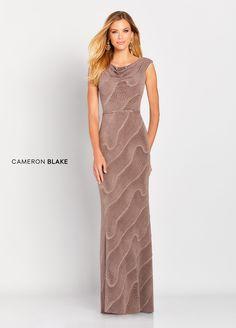 eca5b7a1064 Cameron Blake 119666 - Capsleeve novelty streych sheath gown with high cowl  neck