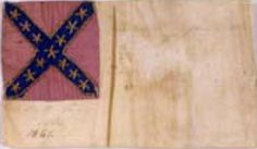 """Second National pattern bible flag with """"Lake H. Gay, Ala."""" written on the field. The flag measures 3.25"""" x 5.25"""". Museum of the Confederacy Collection."""