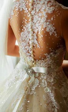 Fetching bridal dress with silk sash and beads | Fashion Inspiration