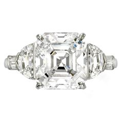 RAYMOND YARD Asscher Cut Diamond Ring with half moon and baguette diamond shoulders in platinum