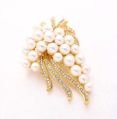 Ivory Pearl Gold Brooch