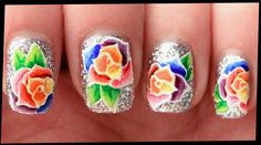 Rainbow Roses nail art