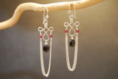 Garnet and Black Spinel Chain Earrings Gypsy 72 by CalicoJunoJewelry on Etsy https://www.etsy.com/listing/105343188/garnet-and-black-spinel-chain-earrings