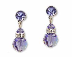 Amethyst Purple Austrian Crystal Earrings with Silver - Purple Bridesmaid Jewelry, $13