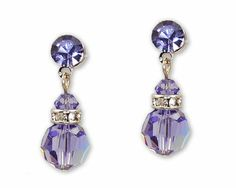 Amethyst Purple Austrian Crystal Earrings with Silver - Purple Bridesmaid Jewelry, $13