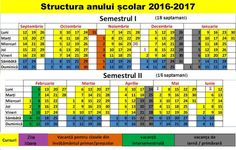 Structura anului școlar 2016-2017 (Calendar) - Mangalia News