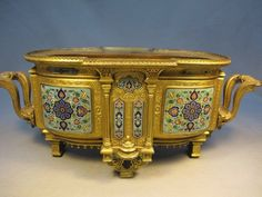 French gilded metal champlevé centerpiece : Lot 170