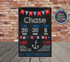 Nautical Birthday Chalkboard Poster // First by MsThirdGrade