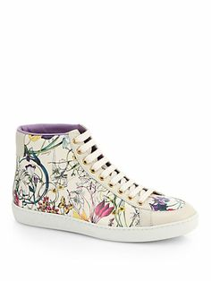 Gucci - Brooklyn Floral-Print Leather High-Top Sneakers - Saks.com 540