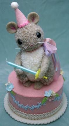 Baby Cakes handmade pom pom birthday mouse by MykoBocekStudios