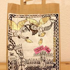 The Money Shop - 25x45 cm, acrylic, paint stick, marker on paper bag, 2012 (Artist: Jens Stoewhase)