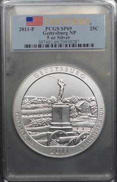 2011-P ATB Gettysburg NP 5 oz Silver, PCGS SP69 First Strike