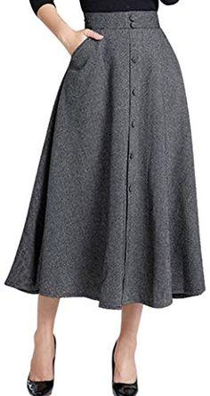 1591da3c Amazing offer on chouyatou chouyatou Woman's Vintage High Waist Front  Button Long Skirt Pockets online