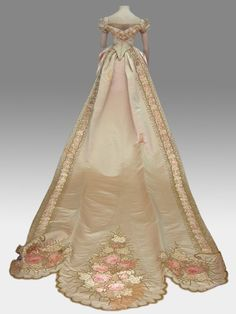 1880's Court Dress Ivory and pink satin with embroidered flowers
