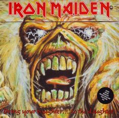 """Iron Maiden """"Bring Your Daughter To the Slaughter"""" Brain Pack 7"""" Vinyl Single UK Pressing (1990) Plicture Sleeve Cover Art by Derek Riggs"""