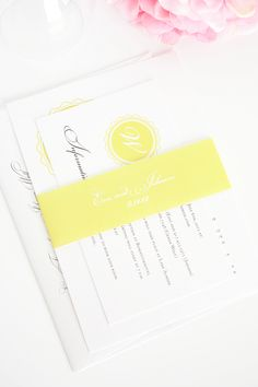 Yellow Wedding Invitations with Classic Monogram
