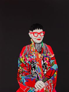 carlafletcher.com  'Jenny Kee' by Carla Fletcher 2015 Archibald Prize Mix media on linen 1.5m x 2.0m