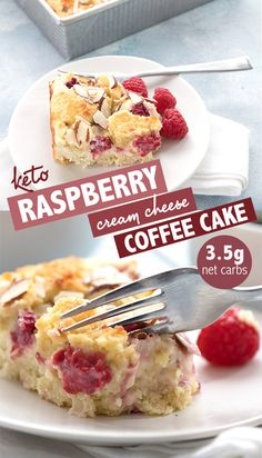 Sugar-free Cream Cheese Coffee Cake! Tender low carb coffee cake with a delicious filling of cream cheese and fresh raspberries. A perfect addition to any holiday brunch, this keto cream cheese coffee cake is sure to please. #ketorecipes #coffeecake #creamcheese #sugarfree #lowcarbdiet