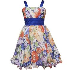 Rare Editions TWEEN GIRLS 7-16 ROYAL-BLUE YELLOW MULTI FLORAL V-PLEAT BODICE WIRE HEM CHIFFON Special Occasion Flower Girl Party Dress Rare Editions, http:// | Big Fashion Show tween dresses
