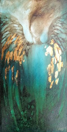 "Turquoise Aqua Blue and Gold / Art by Christine Keogh ""Blue Angel"" Angel Wings Painting, Angel Artwork, Paintings Of Angels, Angel Wings Art, Prophetic Art, Angel Pictures, Painting Inspiration, Abstract Art, Canvas Art"
