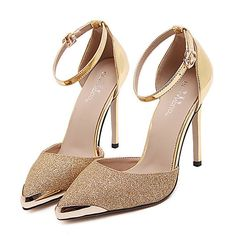 57439afd4d89b Femme Chaussures Polyuréthane Automne   Hiver Confort   Gladiateur   Bottes  à la Mode Chaussures à Talons Talon Aiguille Or   Argent   Mariage   Soirée  ...